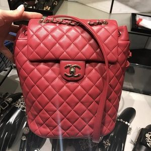 CHANEL Quilted Small Urban Spirit Backpack, Red